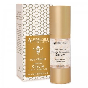 Alpine Silk Bee Venom Intensive Serum with 23 Carat Gold Flakes, New Zealand Manuka Honey, Collagen, Vitamins A & E 30ml