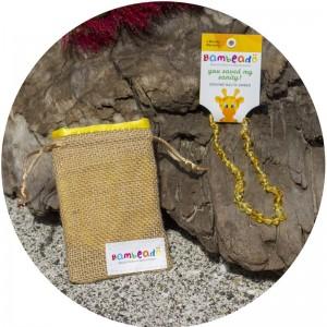 Bambeado班比度宝宝婴儿天然琥珀项链(柠檬色33cm) 安抚情绪
