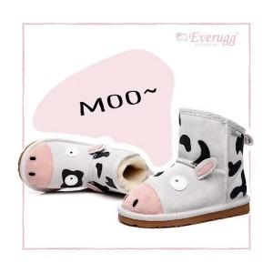 【澳洲直邮】EVER UGG Cow 21494 白色小奶牛儿童防水雪地靴