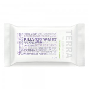 Terra Antibacterial Wipes kill 99.9% of bacteria 40S