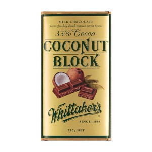 Whittakers Chocolate Block 33% Cocoa Coconut 250g