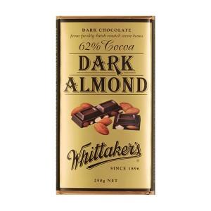 Whittakers Chocolate Block Dark Almond 62% Cocoa 250g