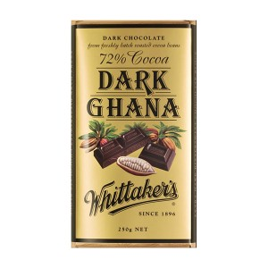 Whittakers Chocolate Block 72% Cocoa Dark Ghana 250g